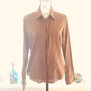 Ling sleeved brown Gap fitted blouse